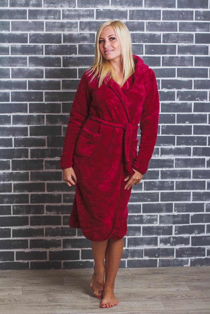 Женский махровый халат на запах бордо