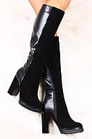 Сапоги черные комбинированные из натуральной кожи и замша демисезонные на устойчивом каблуке