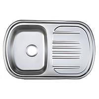 Мойка кухонная Platinum 7749 сатин 0,8 мм глубина 18 см