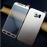 Защитное стекло с металлом двухстороннее для Samsung S6 G920, фото 1