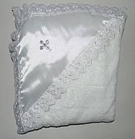 Крестильная пеленка с кружевом на махре, Lari белая
