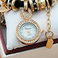 Часы-браслет Pandora (часы в стиле Pandora Style) черные с золотой фурнитурой