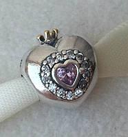 """Шарм бусина Pandora (Пандора) """"Сердце принцессы"""""""
