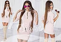Женское короткое трикотажное платье с карманами