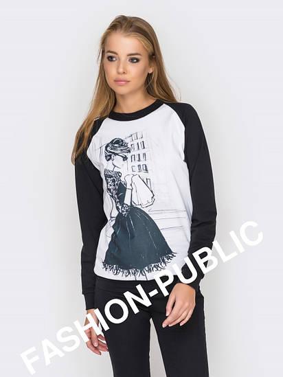 Черно-белый молодежный стильный свитшот