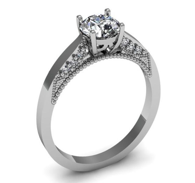 Серебряное помолвочное кольцо с одним камнем солитер