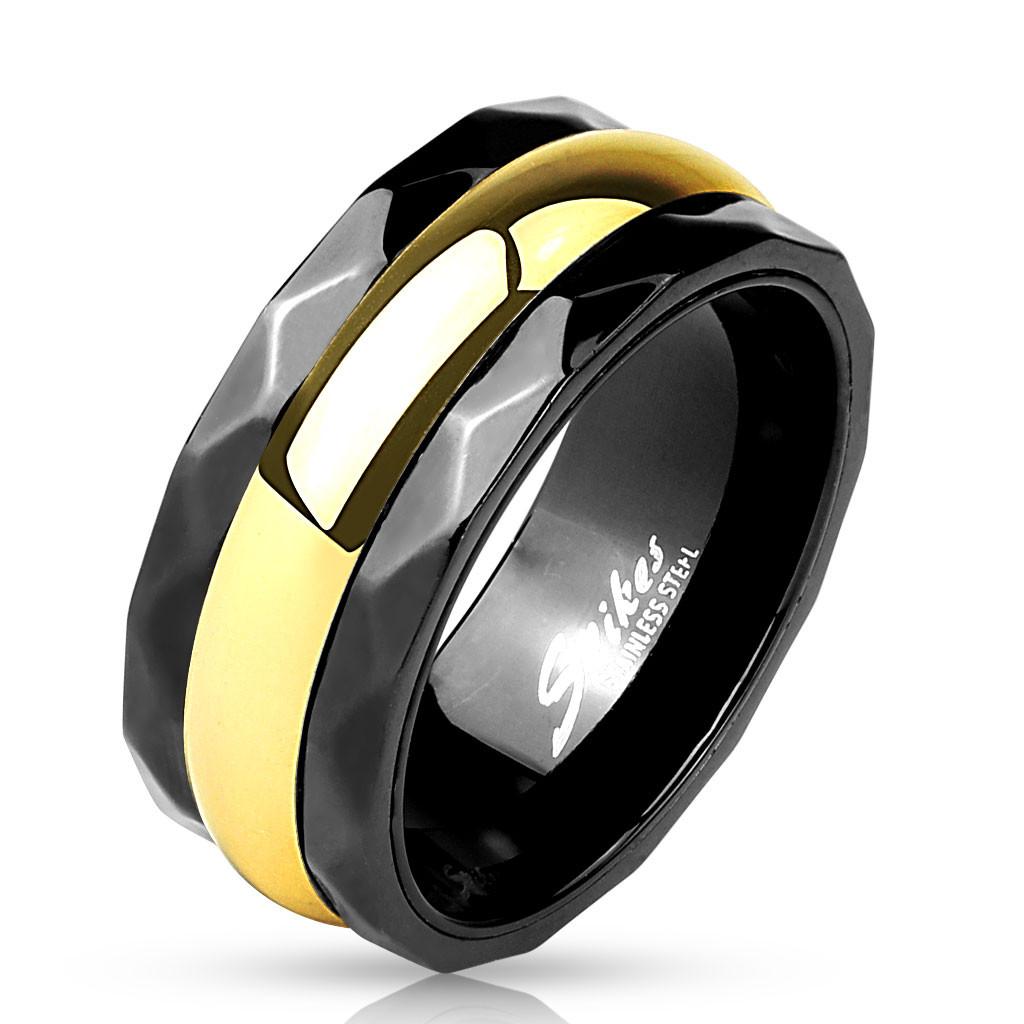 Кольцо черное с золотой полосой из нержавеющей стали Spikes