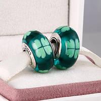 """Шарм бусина Pandora (Пандора) """"Муранское стекло зеленый с четырехлистник"""""""