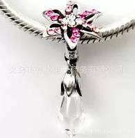 """Шарм бусина Pandora (Пандора) """"Подвеска цветочек с кристалом"""""""