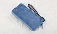 Стильный мужской клатч портмоне BAELLERRY замшевая версия синего цвета