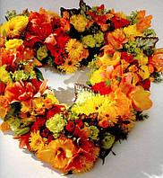 Сердце цветочное осенний микс