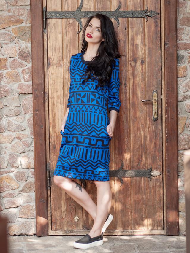 Синее женское  платье,  платье с карманами