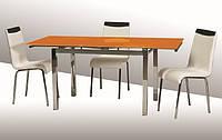 Стеклянный кухонный стол  ТВ014 оранжевый  96/156х70х75 см