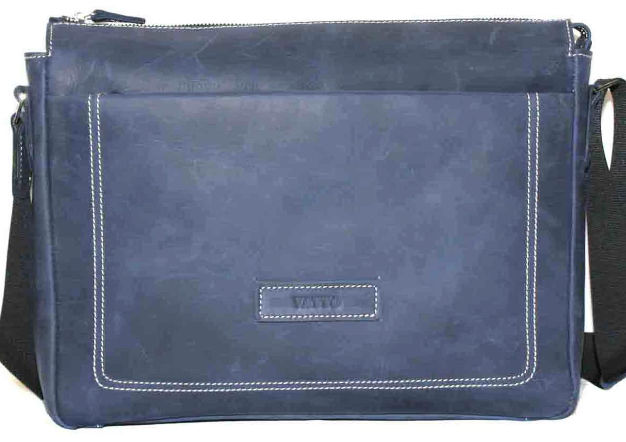 Кожаная мужская сумка Mk33 синяя