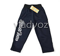 Утепленные спортивные штаны для мальчика 3-4 лет тёмно синие L