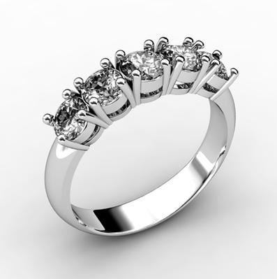 Серебряное кольцо дорожка с фианитами