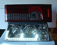 Передние хром+задние красные фары №16 на ВАЗ 2108