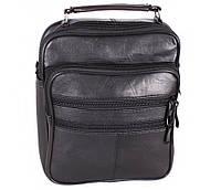 Практичная мужская сумка-барсетка кожаная черная