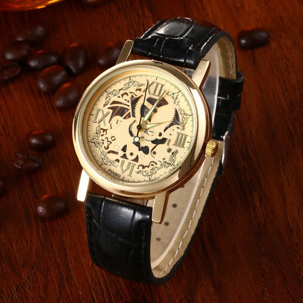 """Часы мужские """"Скелетон"""" чёрные"""