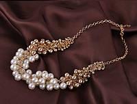 Ожерелье Жемчужены белые/бижутерия/цвет цепочки золото