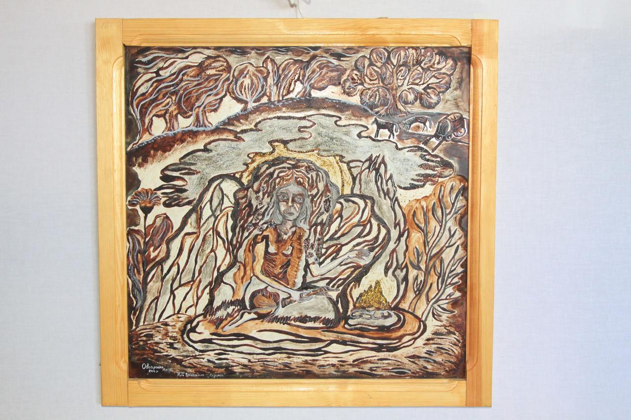 Картина Шевченковская тематика «Відьма», написана какао порошком та горчицей.