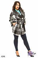 """Пальто женское из кашемира больших размеров """"Клетка кожа"""""""