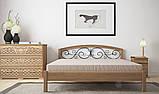 Ліжко півтораспальне з натурального дерева в спальню, дитячу Британія з ковкою (Вільха) ДОК , фото 3