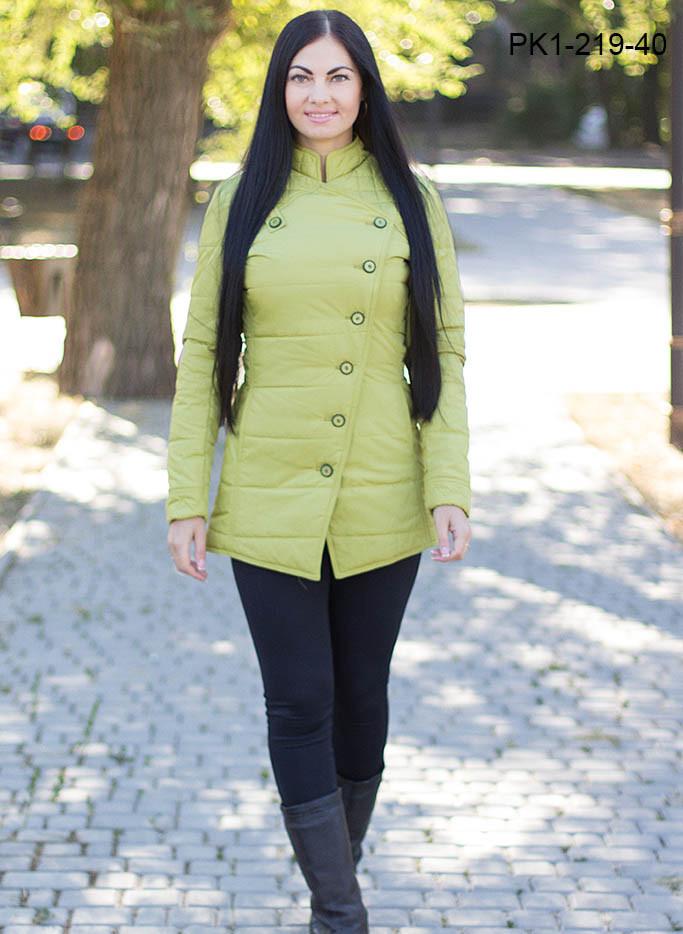 Женская куртка на осень с пуговками цвет оливковый размер 44,46,50