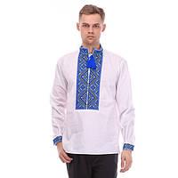 Праздничная мужская сорочка вышиванка с богато расшитым синим орнаментом