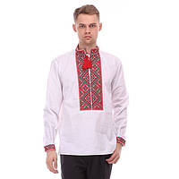 Нарядная мужская вышиванка  из рубашечной ткани белого цвета с красным орнаемнтом