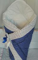Демисезонные конверты-одеяла на выписку осень/весна  на липучке с красивым бантом (зимний), 90х90- Горошек
