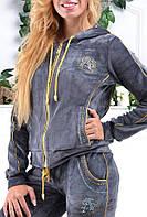 Стильный гламурный велюровый спортивный костюм женский Турция однотоный на змейке XS S M L XL