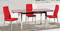 Стол стеклянный ТВ014  красный 96/156х70х75 см
