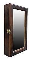 Ключница настенная деревянная 20х35см с зеркалом