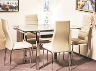 Стол кухонный стекло+хром ТВ 017 кремовый 110/170*75*75 (раскладной)