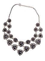 """Ожерелье женское двухярусное """"Гранат"""" с камнями в виде сердец"""