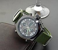 Мужские кварцевые наручные часы AMST Black-Black Green Wristband