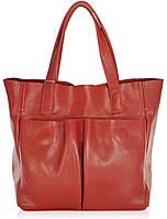 Женская кожаная сумка с карманами красная