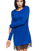 Платье с кружевом внизу | 1067 br синий