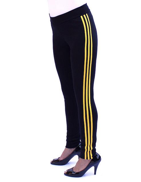 Зауженные спортивные брюки с желтыми полосками - фото teens.ua