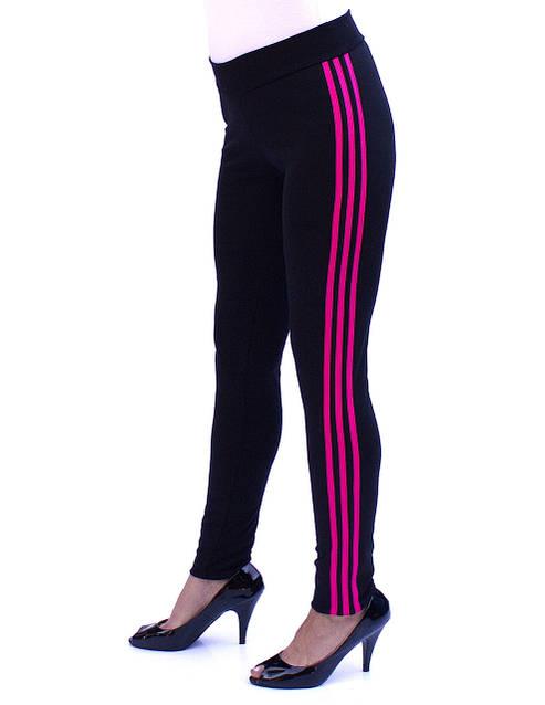 Зауженные спортивные брюки с малиновыми полосками - фото teens.ua