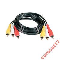 Компонентный кабель 3RCA-3RCA 1,2 м