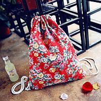 Женский рюкзак мешок красный с цветами