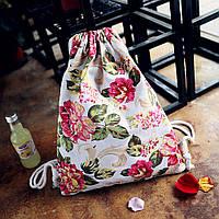 Женский рюкзак мешок белый с цветами