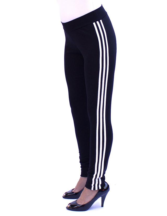 Зауженные спортивные брюки женские - три белые полоски - фото teens.ua
