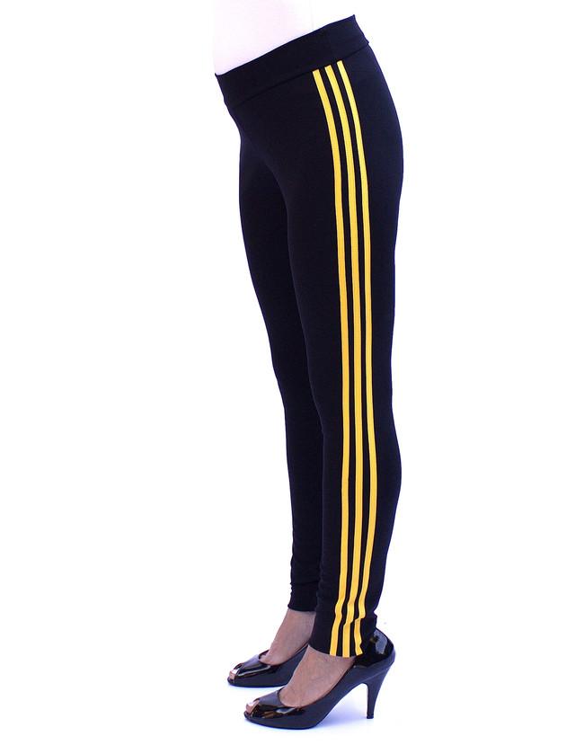 Зауженные спортивные брюки женские с желтыми полосками - фото teens.ua