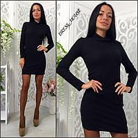 Женское платье-гольф ткань рибана (рубчик) цвет черный
