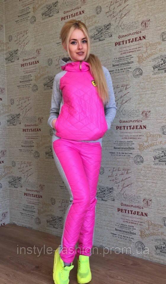 Женский спортивный костюм плащевка на синтепоне цвет розовый