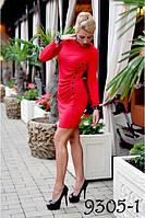 Однотонное трикотажное платье-9305