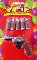 Свечи для торта Пистолет и пули